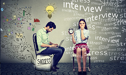 Man and women prepping for interview